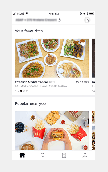 Guide to Mobile App Design - 10 Quick & Actionable UI UX Tips - Uber Eats Navigation Menu