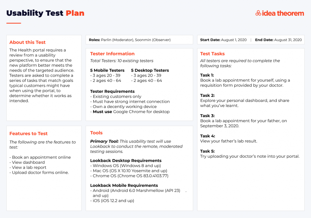 How to conduct usability testing during a pandemic: Test Case